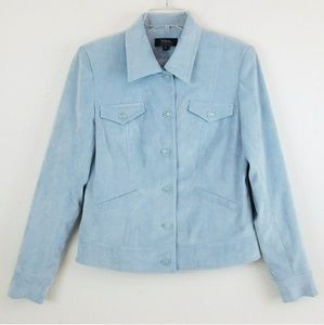 Tribal Stretch Button Front Powder Blue Jacket